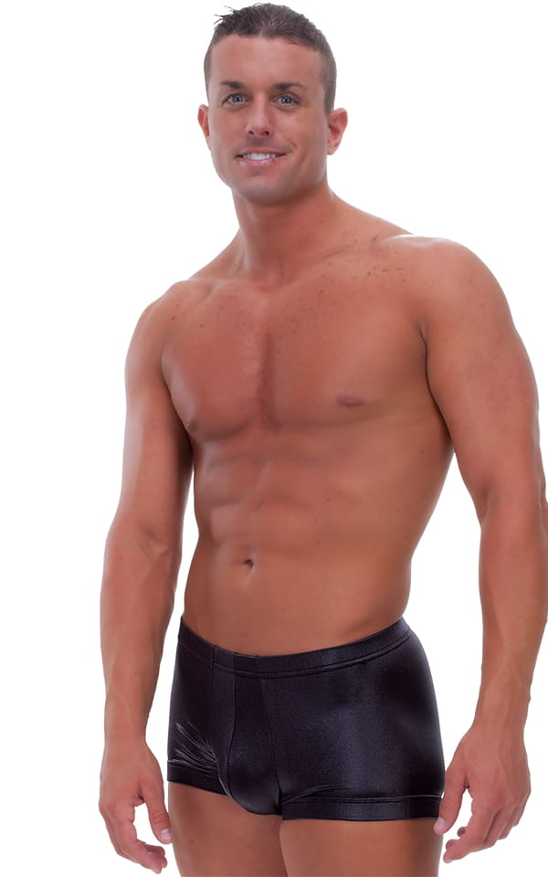 Fitted Pouch - Square Cut - Watersports Swim Trunks in Wet Look Black 1