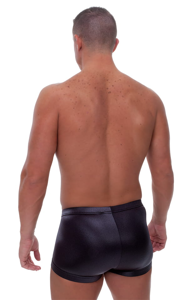 Fitted Pouch - Square Cut - Watersports Swim Trunks in Wet Look Black 3