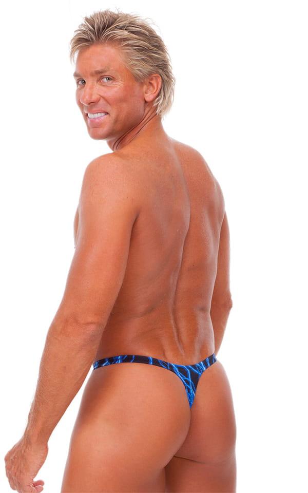 T Back Thong Swimsuit - Bravura Pouch in Blue Lightning 3