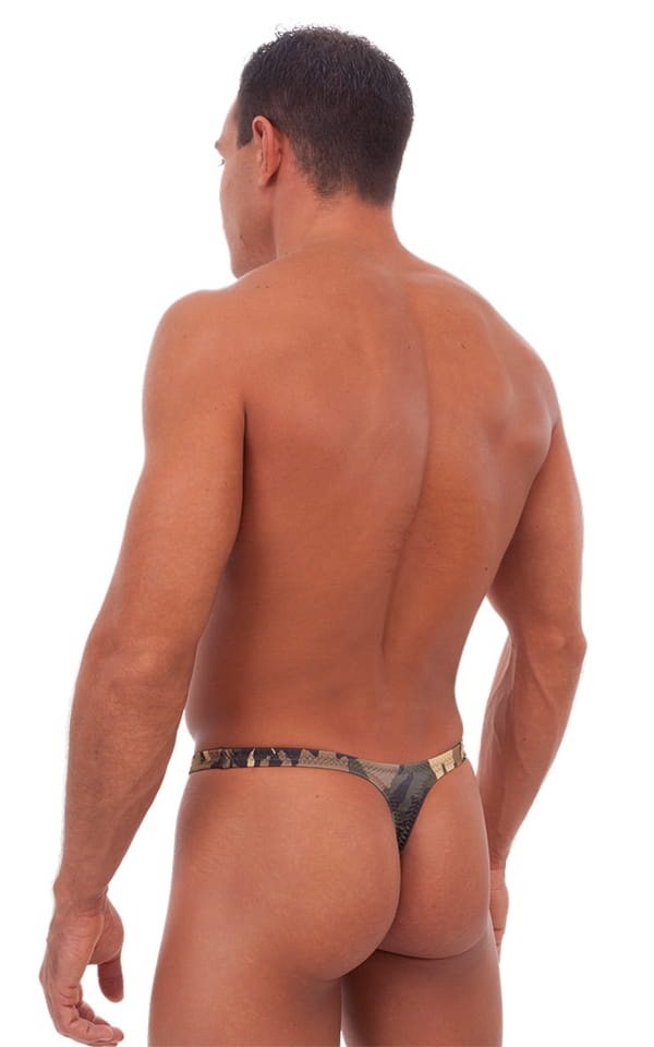 T Back Thong Swimsuit - Bravura Pouch in Camouflage 3