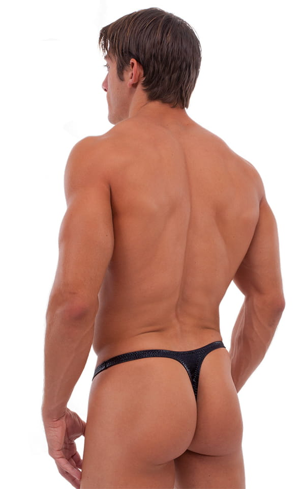 T Back Thong Swimsuit - Bravura Pouch in Mystique Black 3