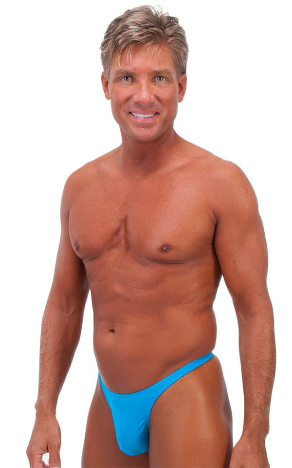T Back Thong Swimsuit in Wet Look Turquoise 1