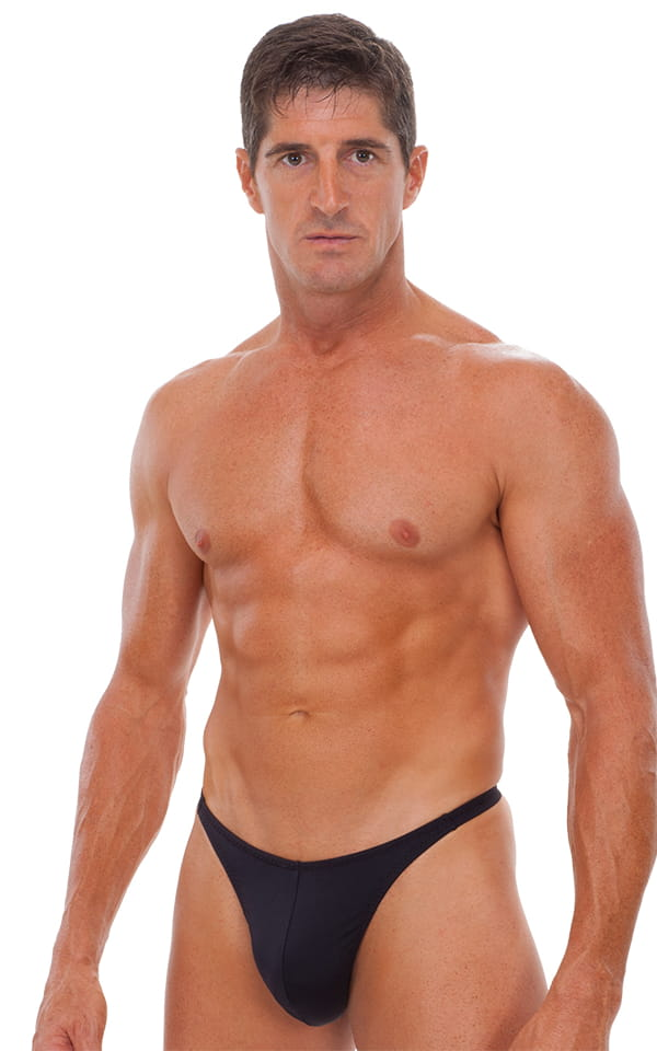 Swimsuit Thong with Pouch Enhancement in Matte Black 1