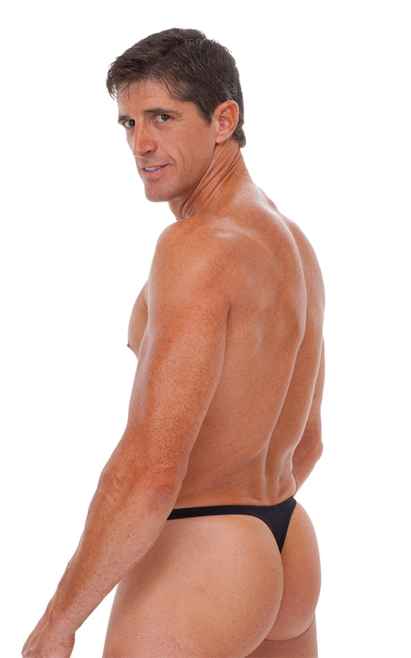 Swimsuit Thong with Pouch Enhancement in Matte Black 3