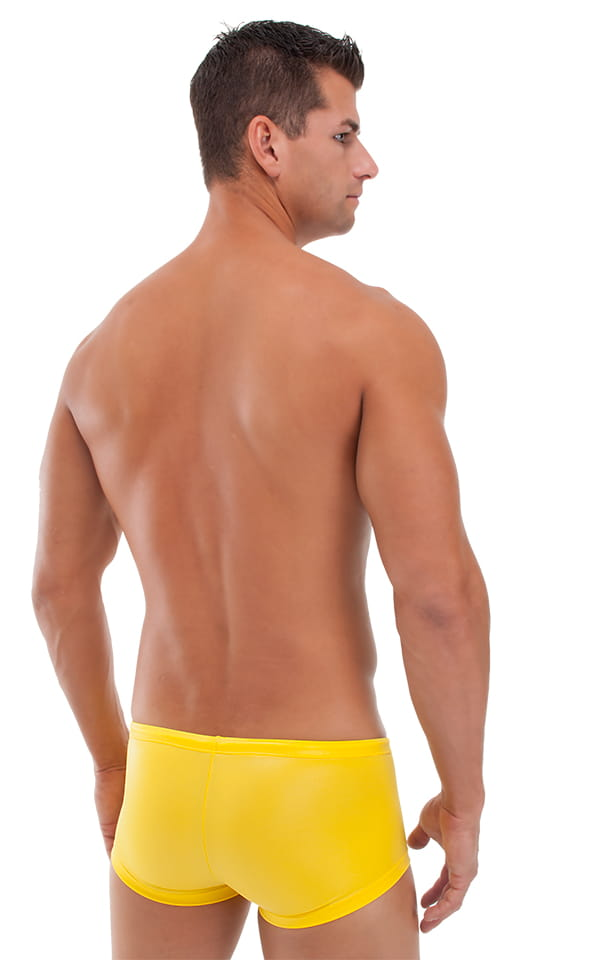Square Cut 4 Panel Fitted Swim Trunks in Neon Orange and Sunshine Yellow 3