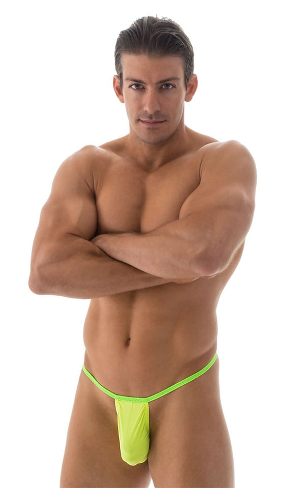 Banded Thong Bathing Suit in ThinSKINZ Chartreuse - Lime Band 1