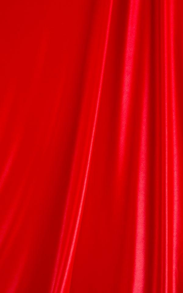 Tanga Cheekini Bikini in Wet Look Red and  Red Satin Stripe Mesh 99.8