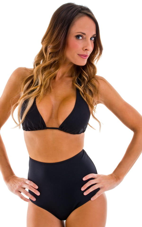Womens Shaped Triangle Swimsuit Comfort Ties Top in Black 4