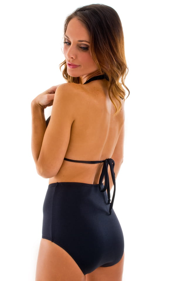 Womens Shaped Triangle Swimsuit Comfort Ties Top in Black 5
