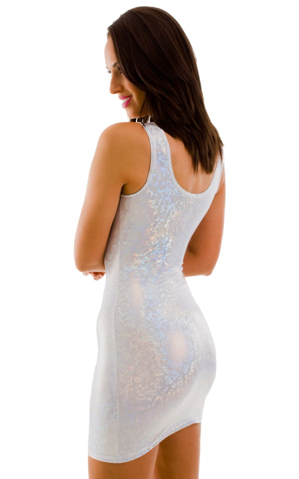Short Sexy Mini Club Dress in Holographic Shattered Glass White-Silver 3