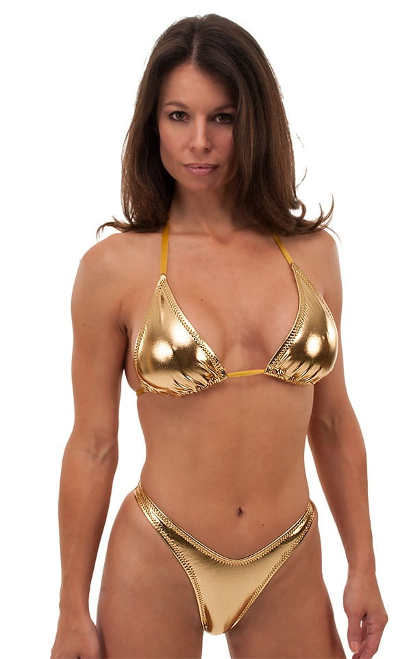 Womens Shaped Triangle Swimsuit Top in Metallic Liquid Gold 1