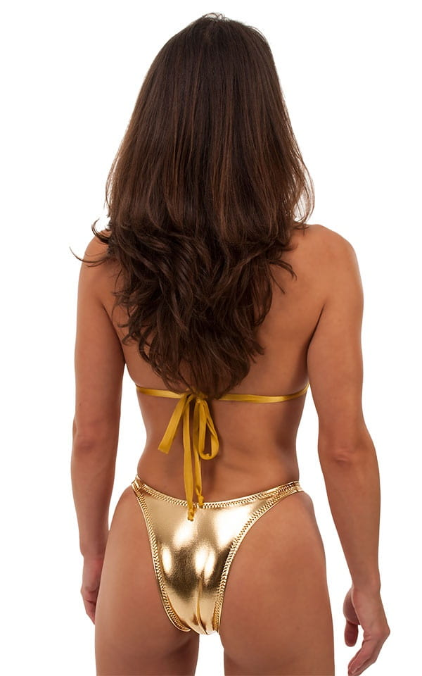 Womens Shaped Triangle Swimsuit Top in Metallic Liquid Gold 3