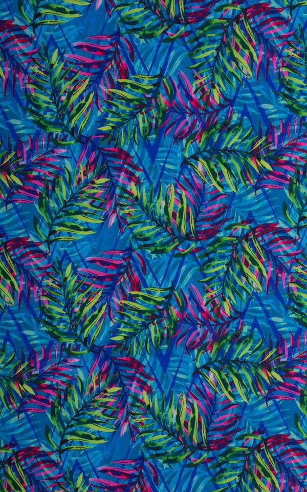 Smooth Front Bikini in Tan Through Neon Ferns Fabric