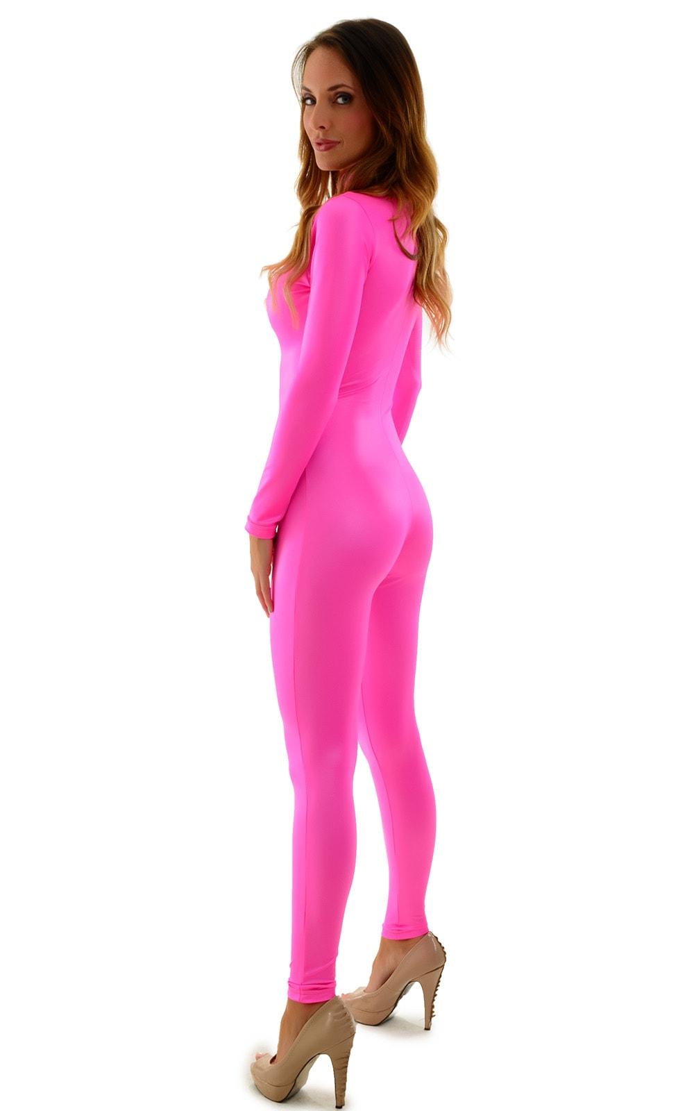 Front Zipper Catsuit-Bodysuit for Women in Wet Look Hot Pink 3