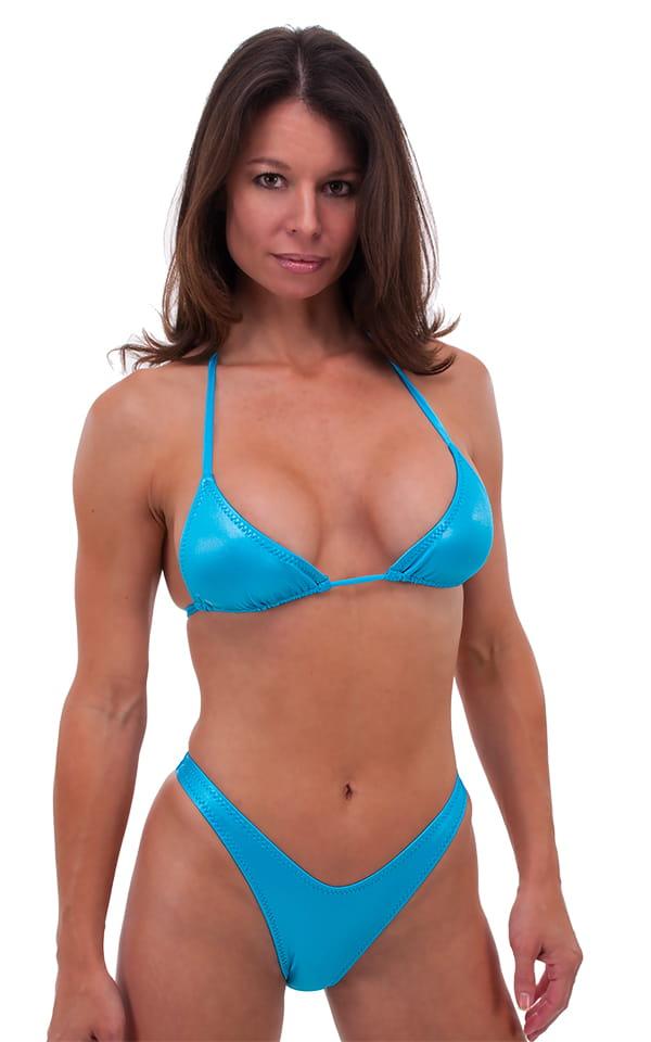 Womens High Cut Brazilian Swim Suit bottom in Wet Look Turquoise 1