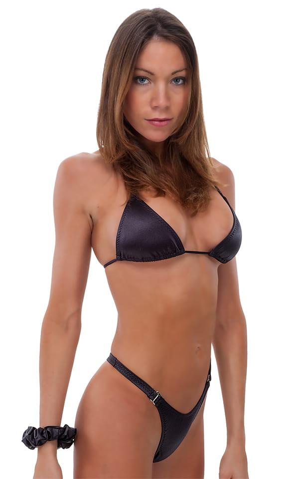 Womens Hooked Swimwear Thong Swimsuit Bottom in Wet Look Black 1
