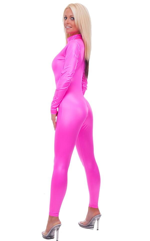Back Zipper Catsuit-Bodysuit in Wet Look Hot Pink 3