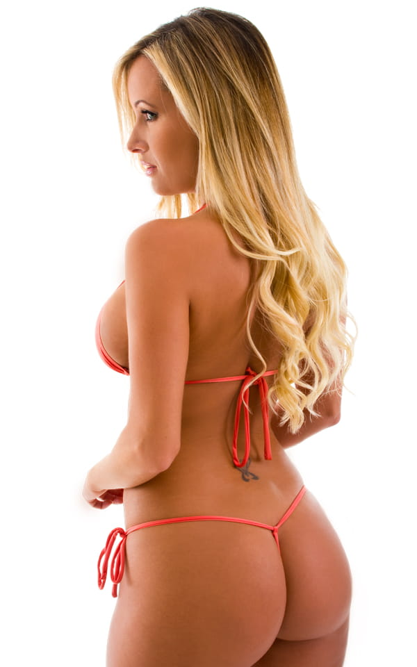 Micro G String Side Tie Bikini Bottom in Semi Sheer ThinSKINZ Apricot 3