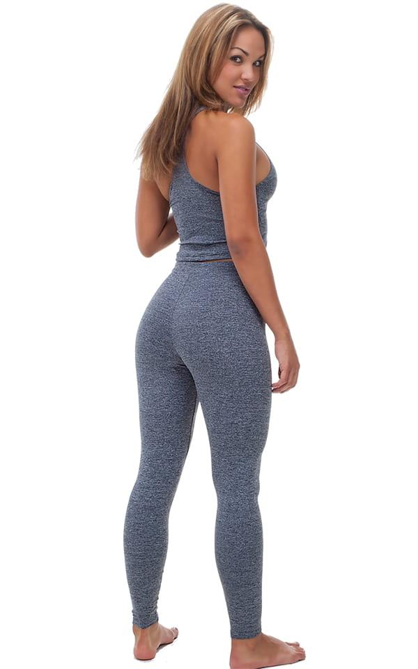 Yoga Leggings - Fashion Tights in Dark Heather Grey Cotton-Spandex 10oz 3