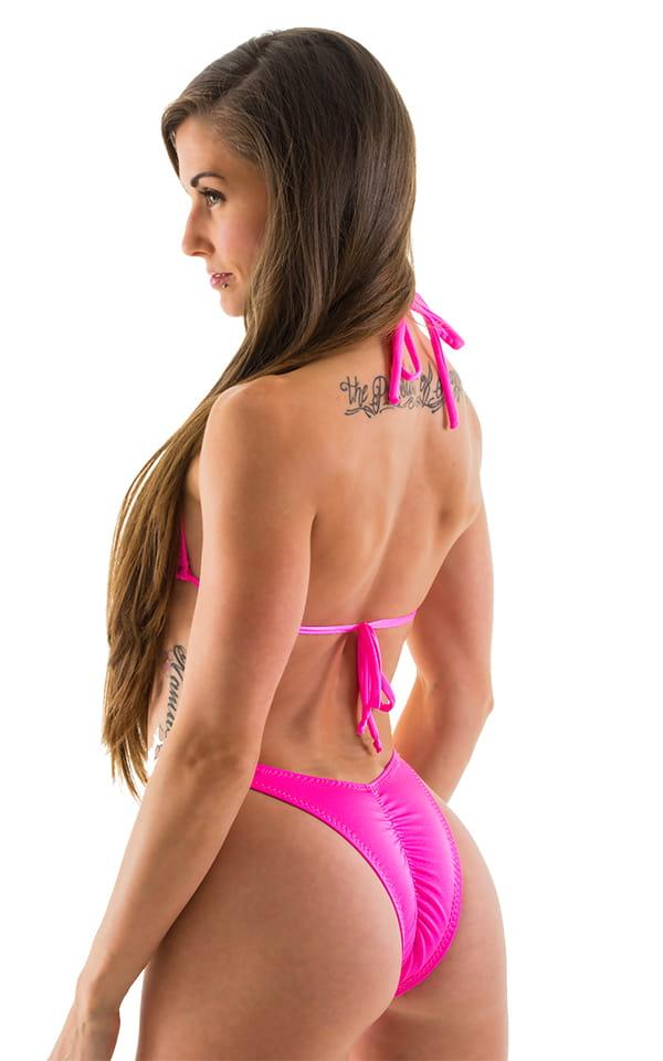 High Cut - Half Back - Scrunchie Swimsuit Bottom in Neon Pink 3