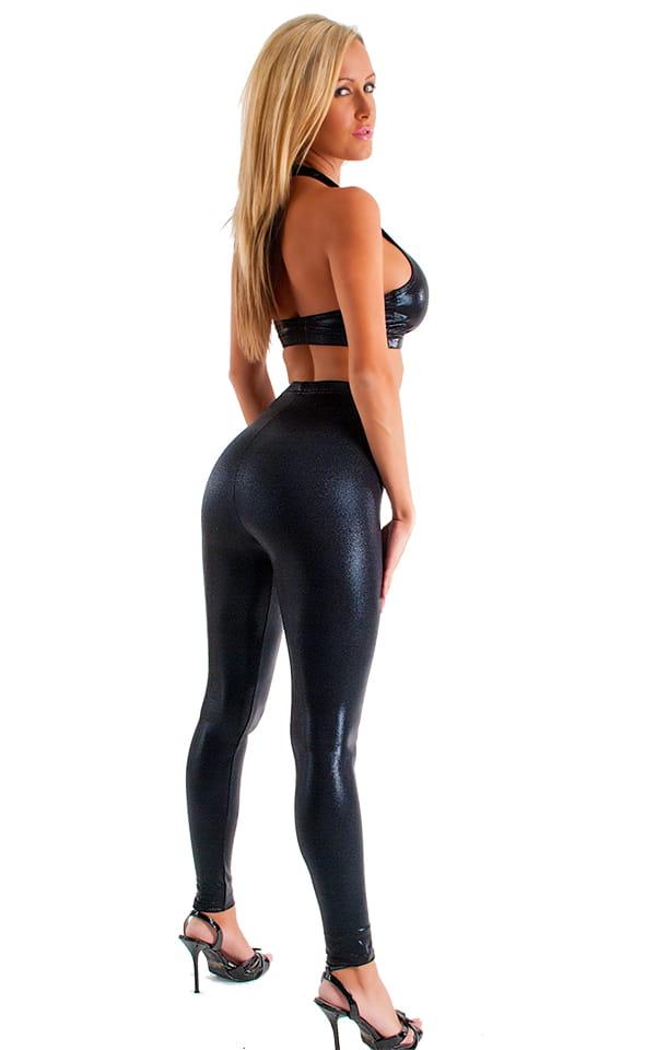 Womens Leggings - Fashion Tights in Metallic Mystique Black Black 3