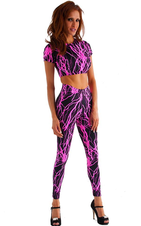 Womens Leggings - Fashion Tights in Hot Pink Lightning on Black 1