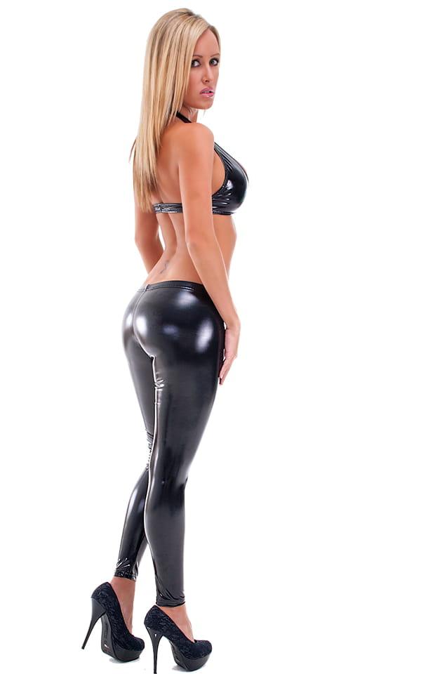 Womens Palm Beach Halter Swim Top  in High Gloss Super-Stretch Black Vinyl/Lycra 3