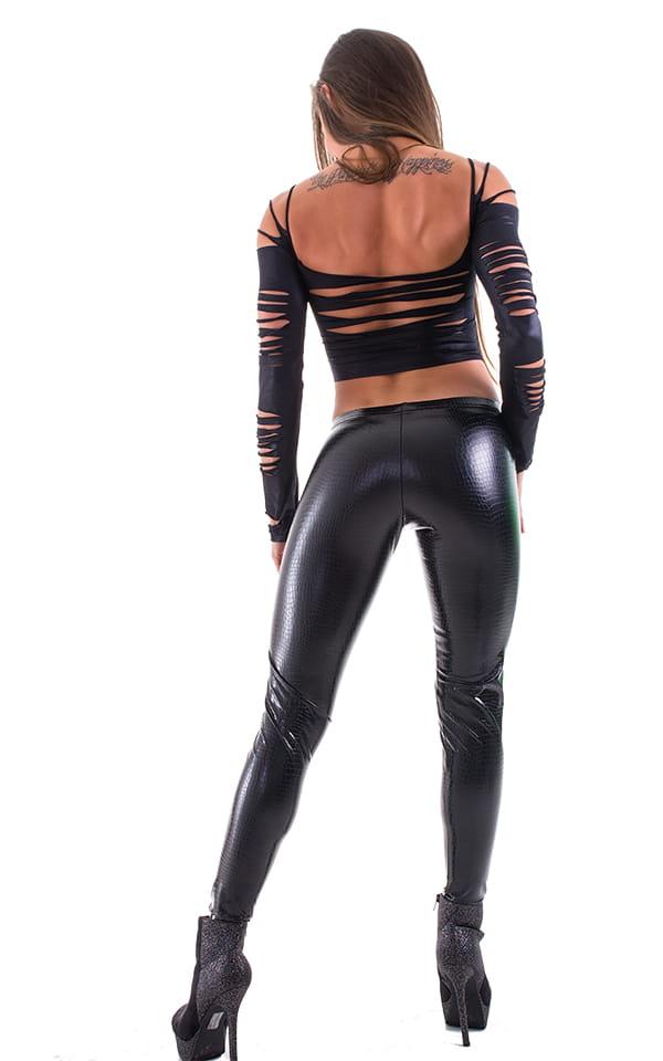 Womens Slashed Ming Top in Wet Look Black 3