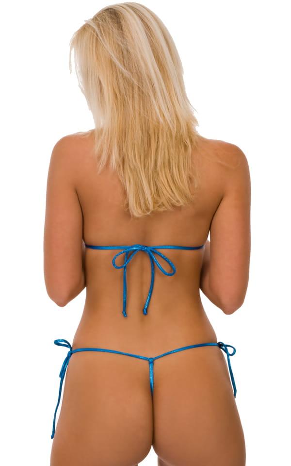 Womens Swim Top Micro Triangle in Metallic Mystique Ocean Turquoise (Swimtop) 4