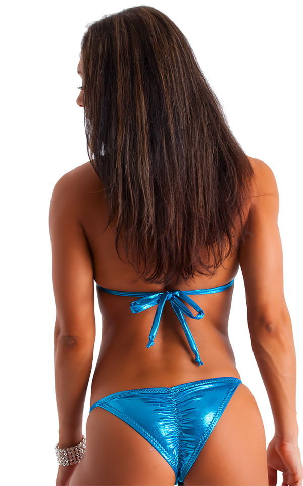 Womens Shaped Triangle Posing Top in Metallic Mystique Ocean Blue 3