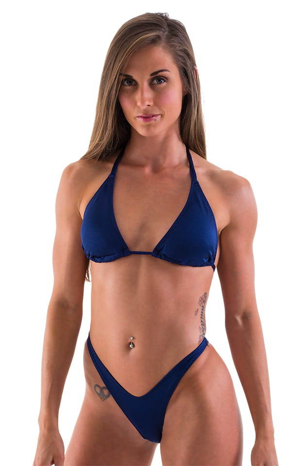 Womens Shaped Triangle Swimsuit Top in Navy Blue 4