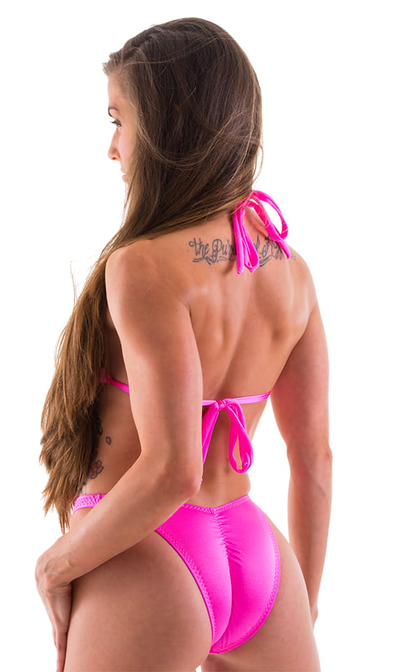 Womens Shaped Triangle Posing Top in Neon Pink 3