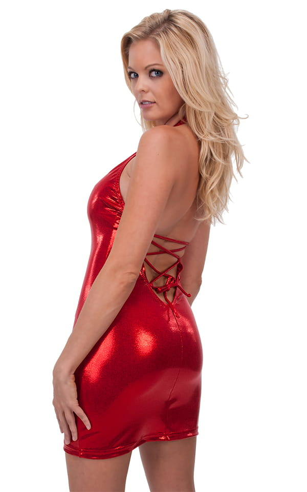 Sexy Lace Up Bodycon Club Mini Dress in Mystique Volcano 3