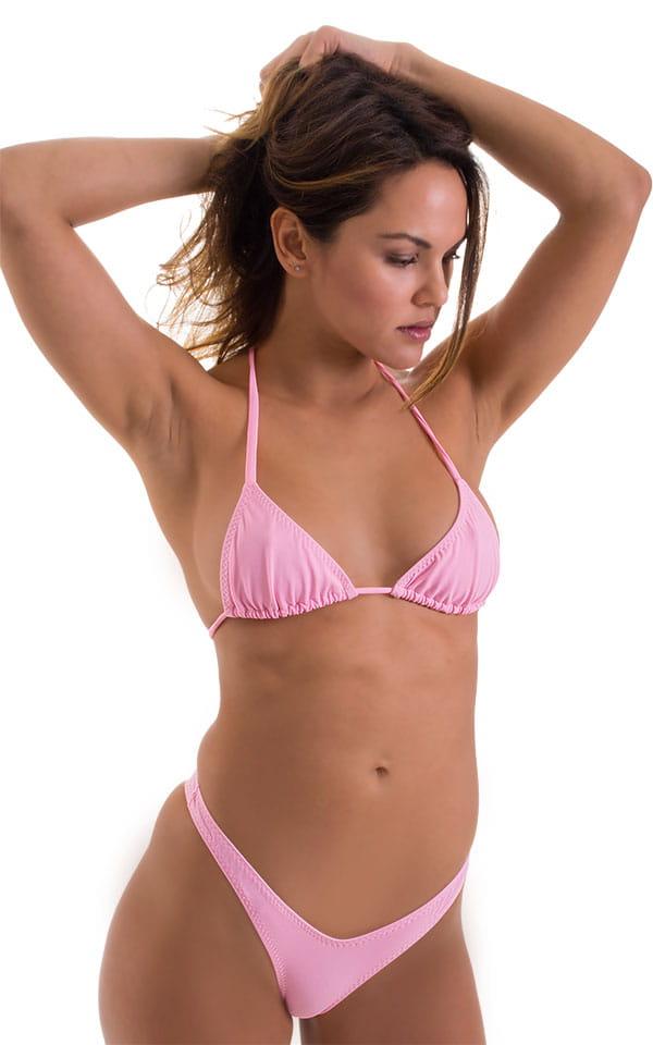 High Cut - Half Back - Scrunchie Swimsuit Bottom in Barbie Pink 4