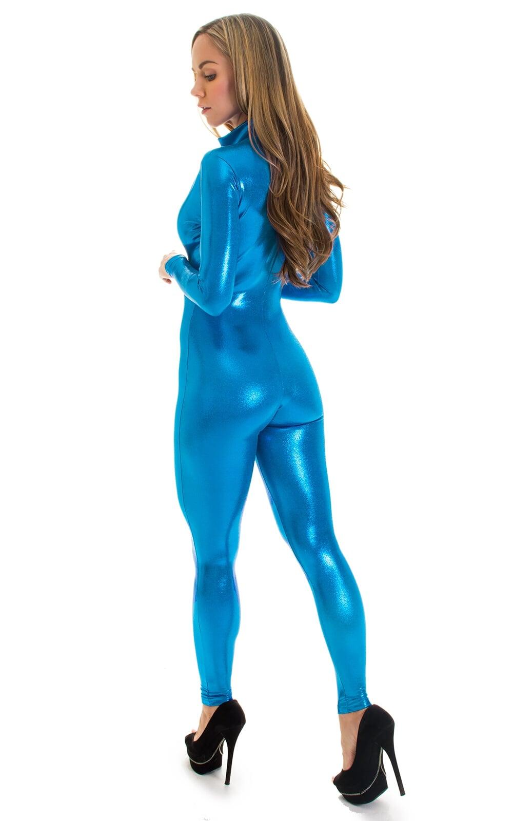 Front Zipper Catsuit-Bodysuit in Mystique Ocean Blue 2