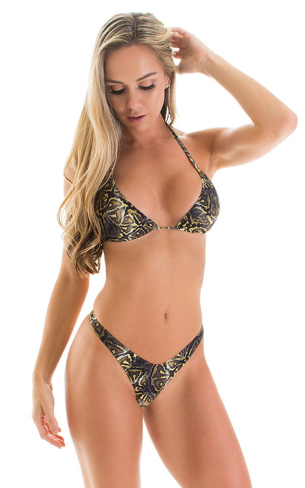 High Cut Thong Bottom in Super ThinSKINZ Coiled Python 3