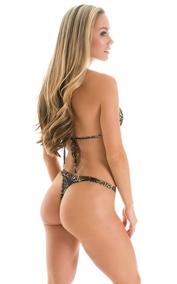 High Cut Thong Bottom in Super ThinSKINZ Coiled Python 2