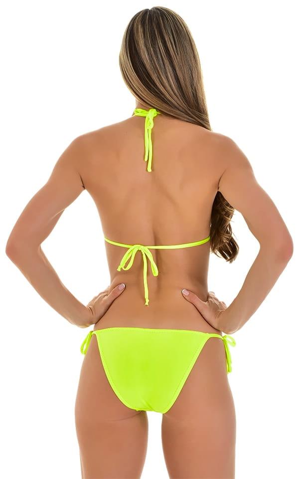 Low Rise Side Tie Brazilian Bikini Bottom in Chartreuse 3