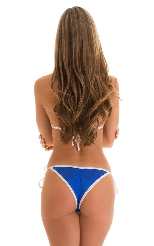 Brazilian Triangle Swim Top in Royal Blue & White 4