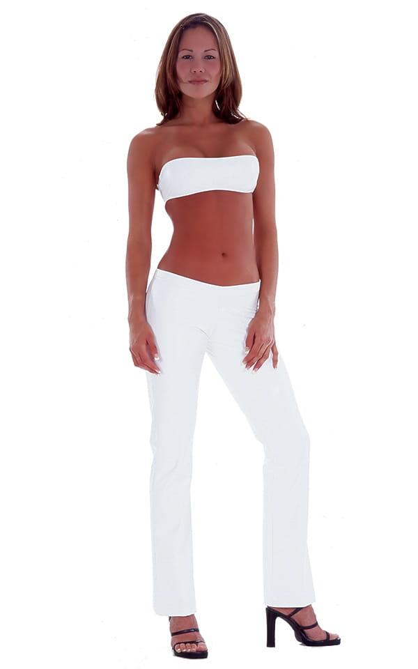 Hiphugger Boot Cut Pants in Optic White nylon-lycra 1
