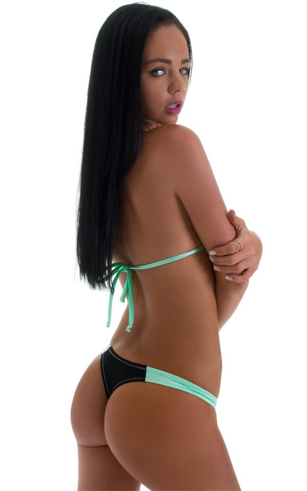 Brazilian Triangle Swim Top in Black Mint 4