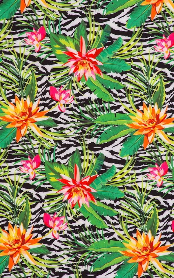 Banded Brazilian Bikini Top in Super ThinSKINZ Exotic Tropics & Black Banding 99.8