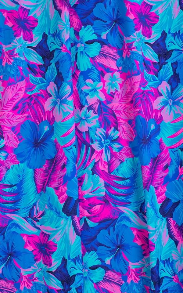 T Back Thong Swimsuit - Bravura Pouch in Tahitian Magenta Aqua Fabric