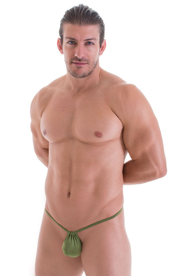 G String Swimsuit - Adjustable Pouch in ThinSKINZ Sage 4