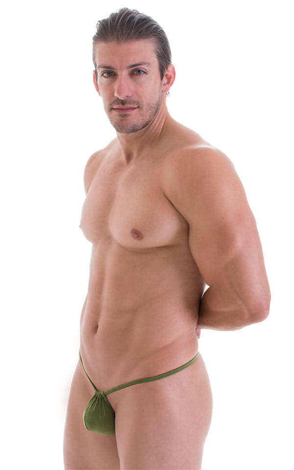 G String Swimsuit - Adjustable Pouch in ThinSKINZ Sage 1