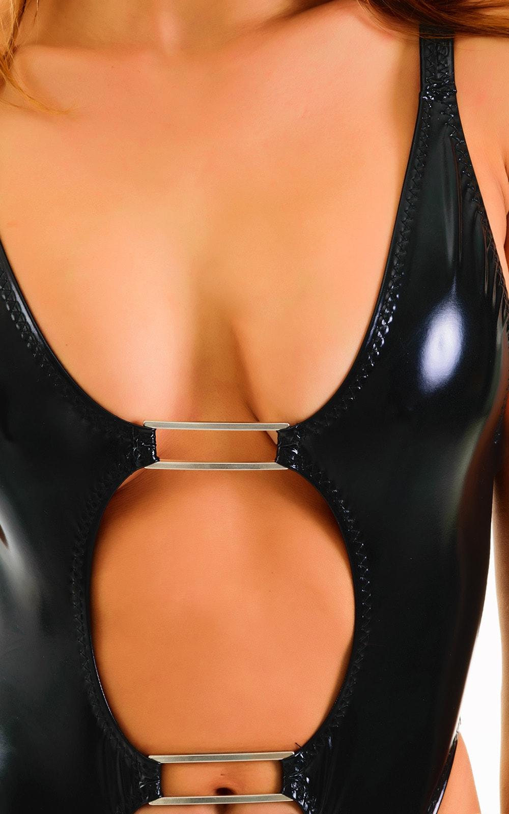 One Piece Keyhole Rio Bikini in Gloss Black Stretch vinyl/nylon/lycra 3