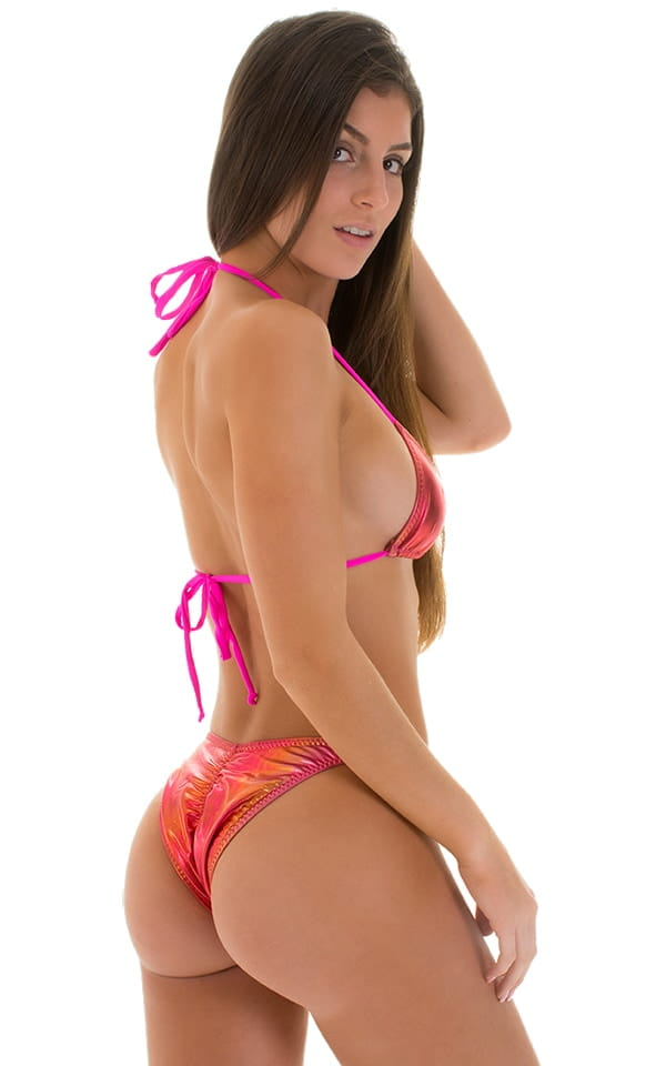 Brazilian Triangle Top in Sunset Ombre & Pink Strings 3