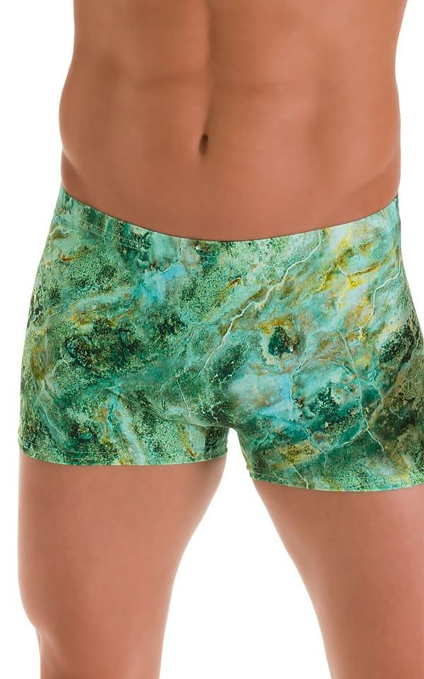 Square Cut Seamless Swim Trunks in Jade Marble 4