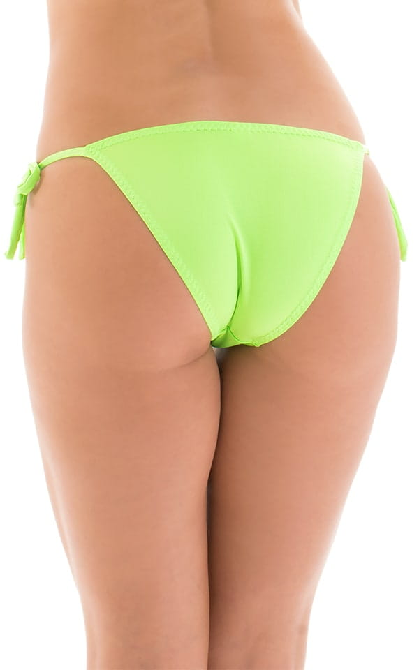 Low Rise Side Tie Brazilian Bikini Bottom in ThinSKINZ Neon Lime 4