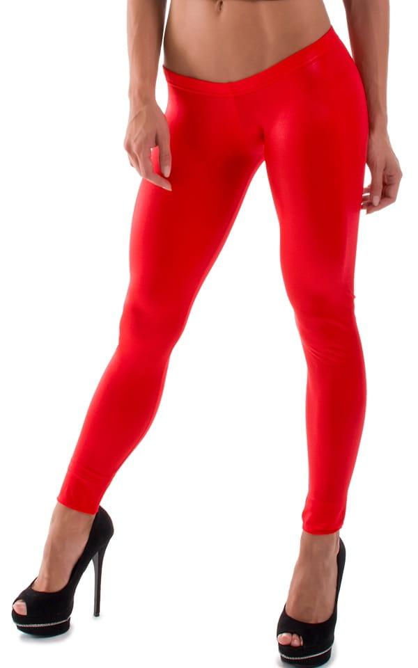 Womens Super Low Rise Leggings in Wet Look Red 4